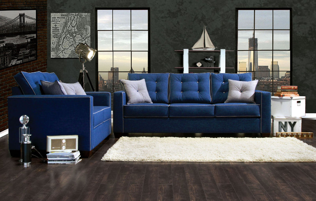 Ravel I Fabric Blue Contemporary Sofa