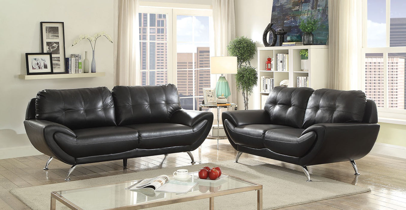 Reanna Breathable Leatherette Black Contemporary Sofa
