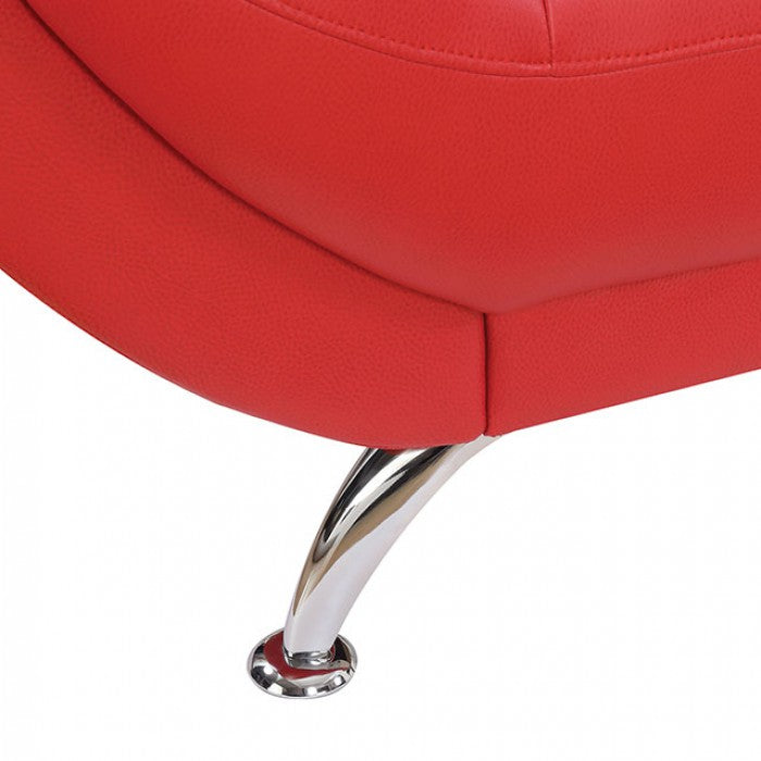 Reanna Breathable Leatherette Red Contemporary Sofa