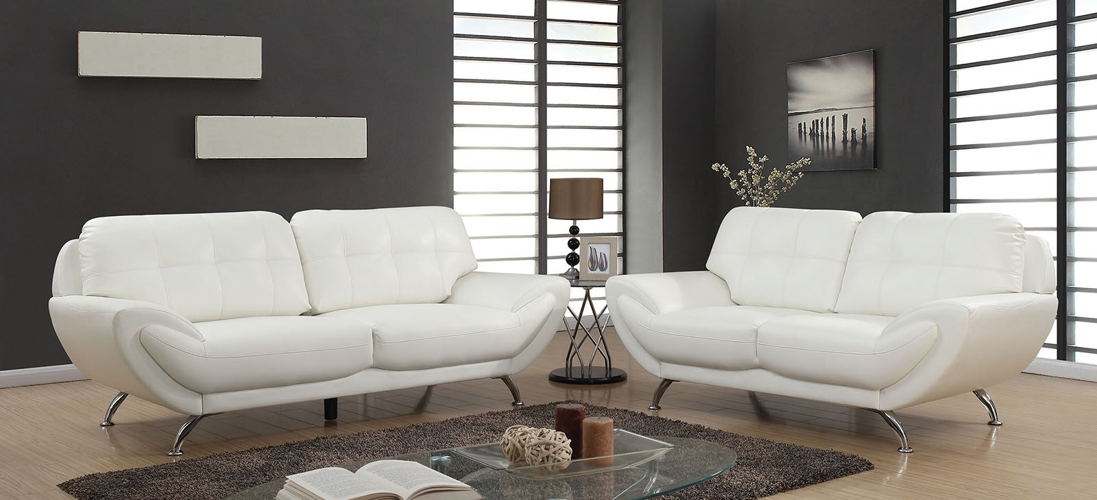 Reanna Breathable Leatherette White Contemporary Sofa