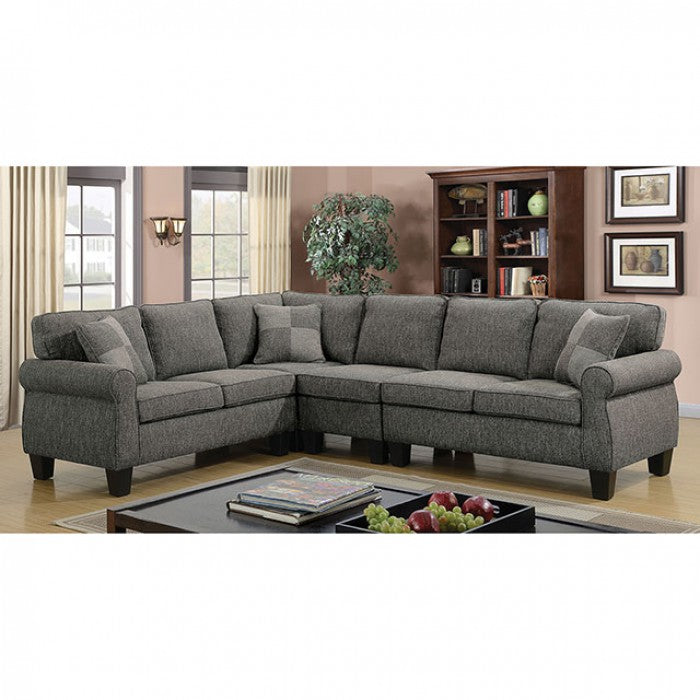 Rhian Linen Dark Gray/Espresso Transitional Rolled Arms Sectional