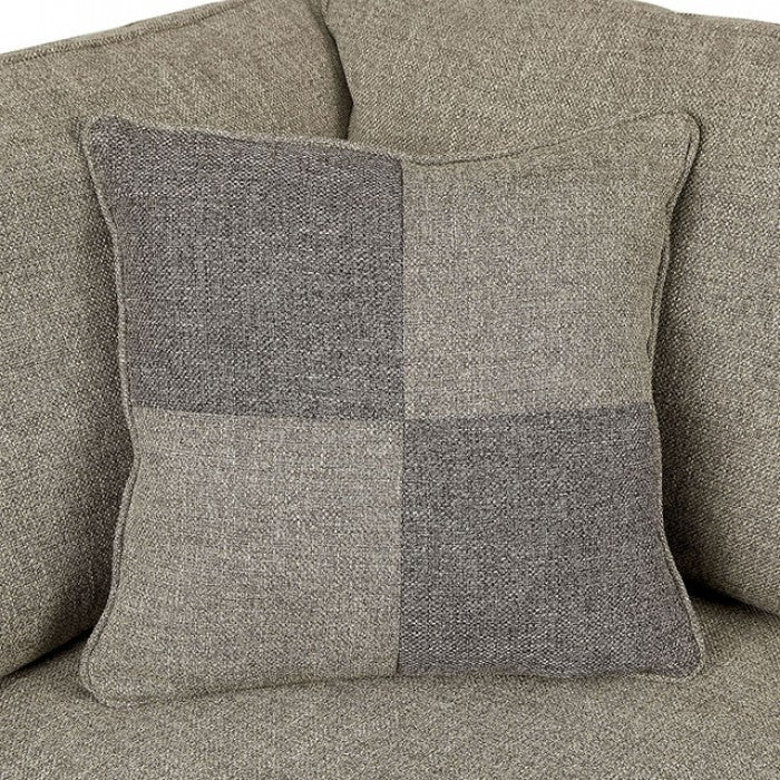 Rhian Linen Light Gray/Espresso Transitional Rolled Arms Sectional