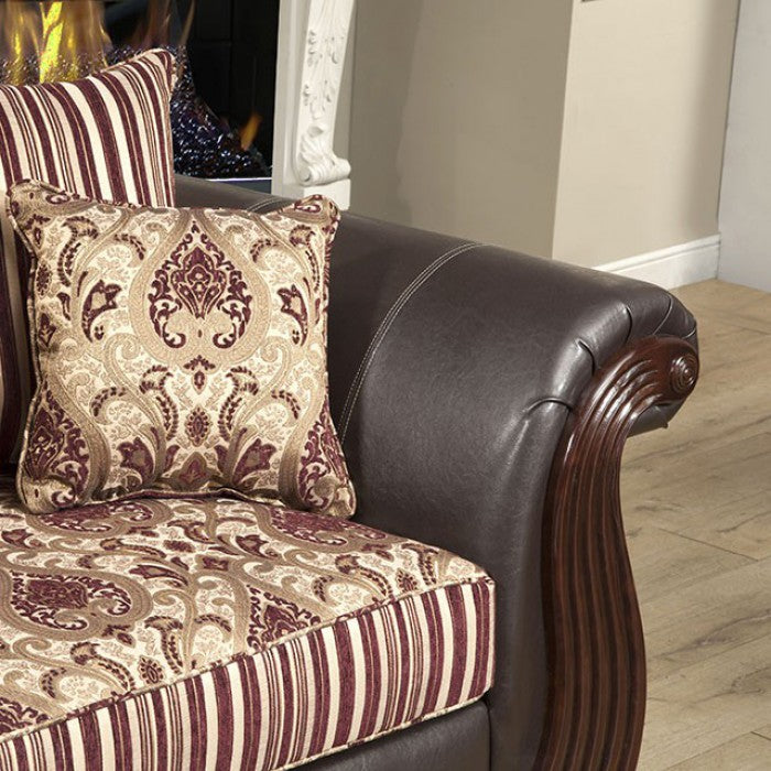 Rutherford Fabric Wine Traditional Sofa