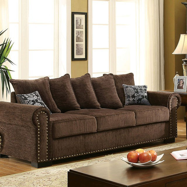 Rydel Chenille Brown Transitional Sofa