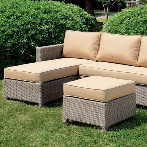 Sabina Dark Gray Fabric Patio Sectional With Ottoman
