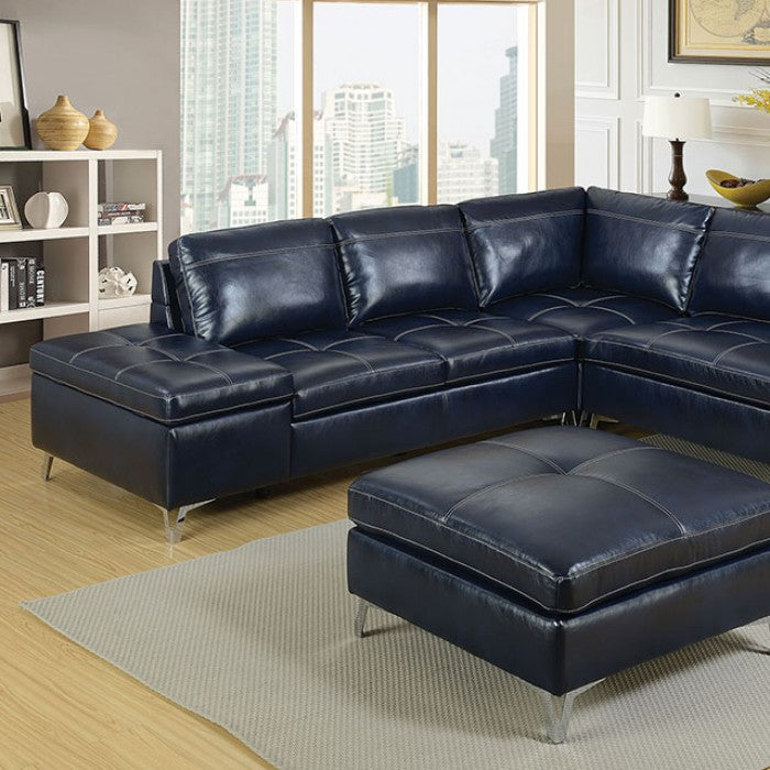 Sadie Dark Blue Contemporary Leather Gel Ottoman Sectional