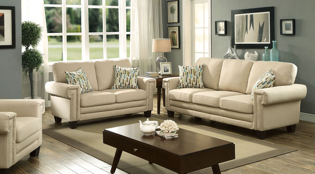 Sanders Linen-Like Fabric Beige Transitional Sofa