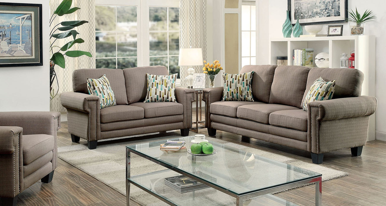Sanders Linen-Like Fabric Warm Gray Transitional Sofa