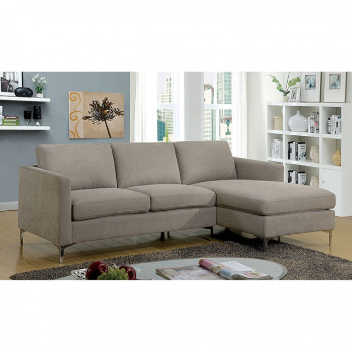 Sandy Warm Gray Contemporary Fabric Metal Legs Sectional