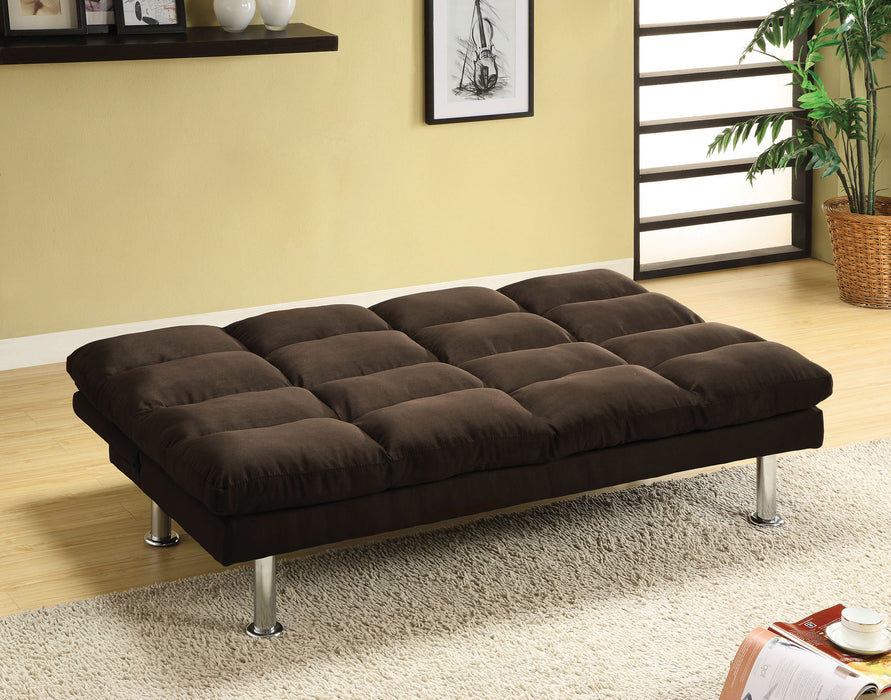 Saratoga Microfiber Espresso Chrome Contemporary Futon Sofa