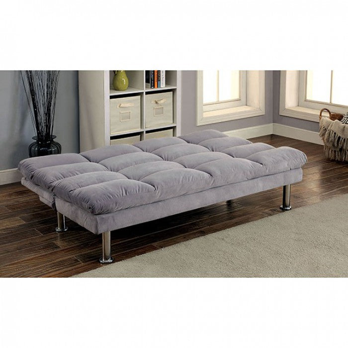 Saratoga Microfiber Grey Chrome Contemporary Futon Sofa
