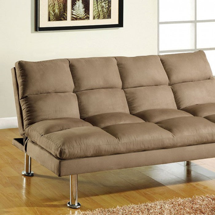 Saratoga Microfiber Light Brown Contemporary Futon Sofa