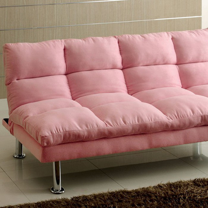 Saratoga Microfiber Pink Chrome Contemporary Futon Sofa