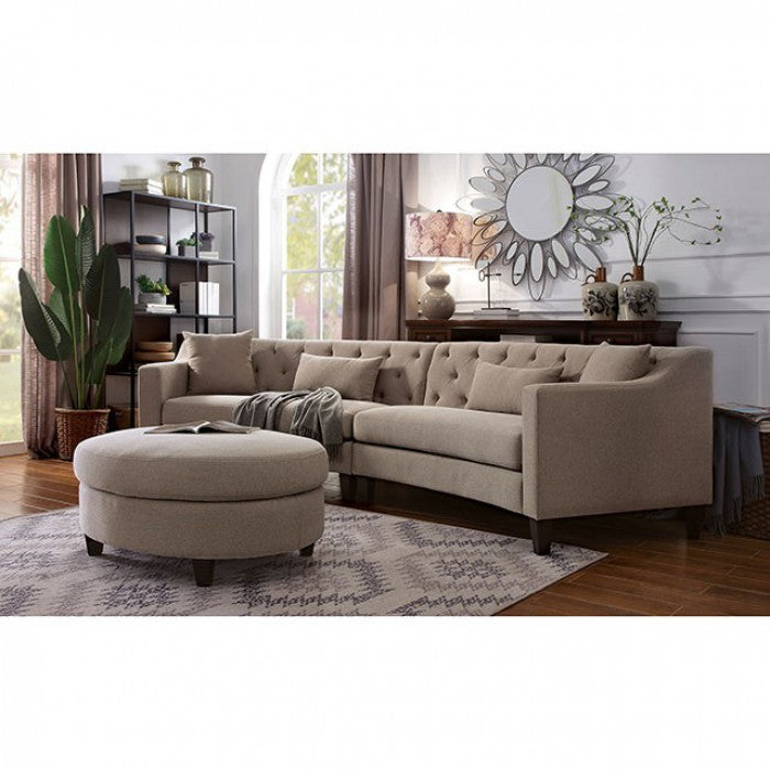 Sarin Sloped-style Arms Contemporary Linen Sectional