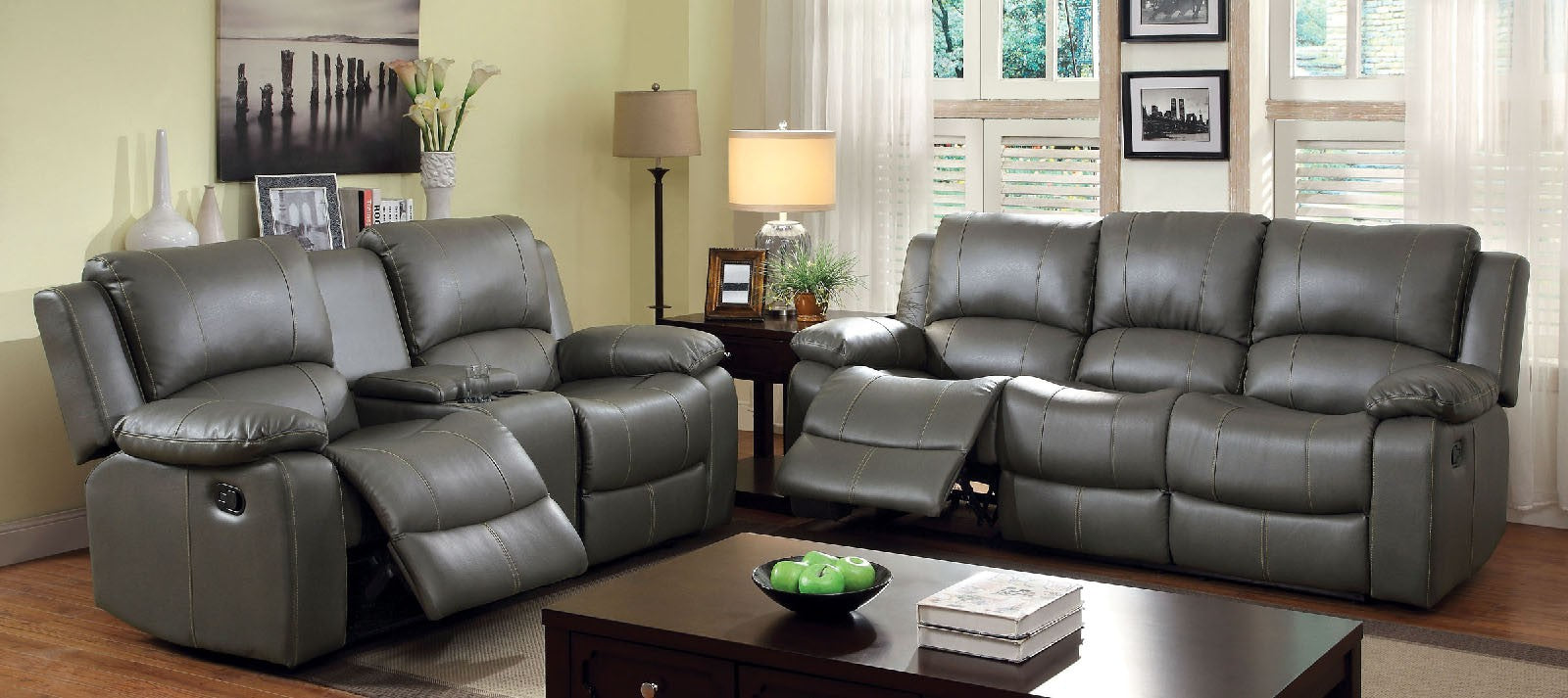 Sarles Bonded Leather Match Gray Transitional Sofa