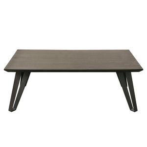 Sigma Rectangular Cocktail Table with Chestnut Veneer Top with Tapered Apron and Grey Powder Coat Iron Legs - Chestnut