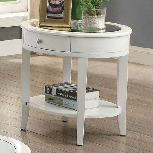 Silver Mist White Contemporary End Table