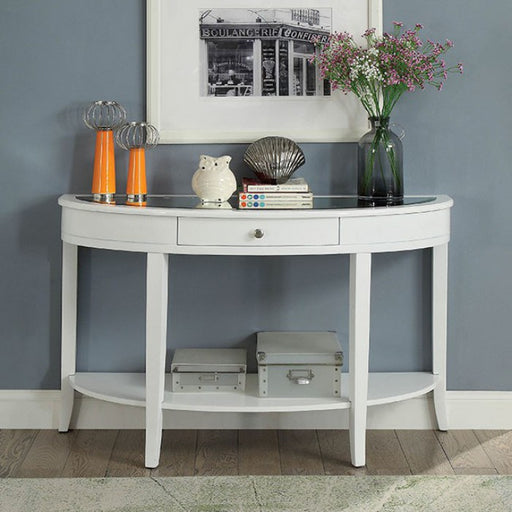 Silver Mist White Contemporary Sofa Table