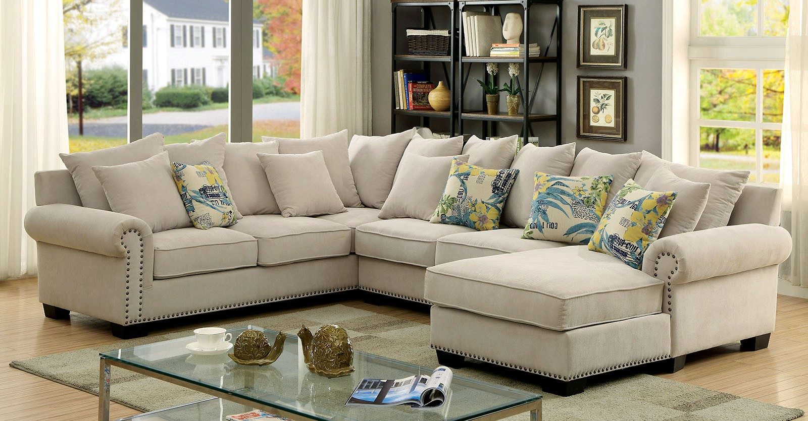 Skyler Ivory Transitional Fabric Rolled Arms Sectional