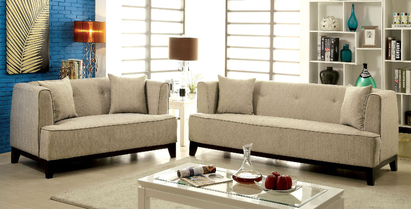 Sofia Fabric Beige Transitional Sofa