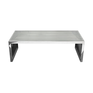 SOHO Rectangular Stainless Steel Cocktail Table with Clear Tempered Glass Top - Stainless Steel