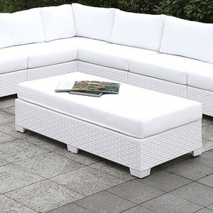 Somani Aluminum White Wicker/White Cushion Contemporary Sofa