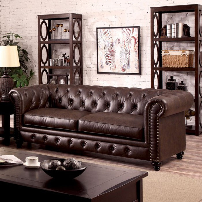 Stanford Fabric Brown Traditional Sofa