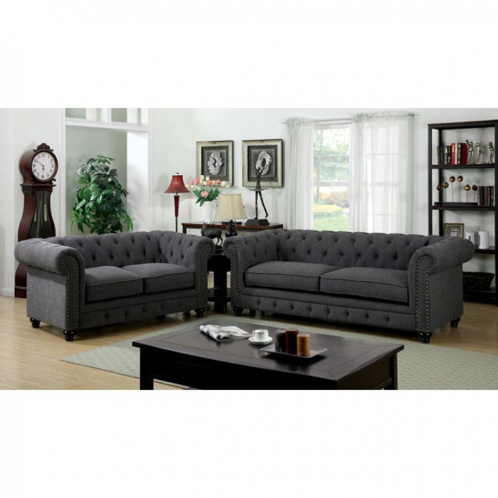 Stanford Fabric Gray Traditional Sofa