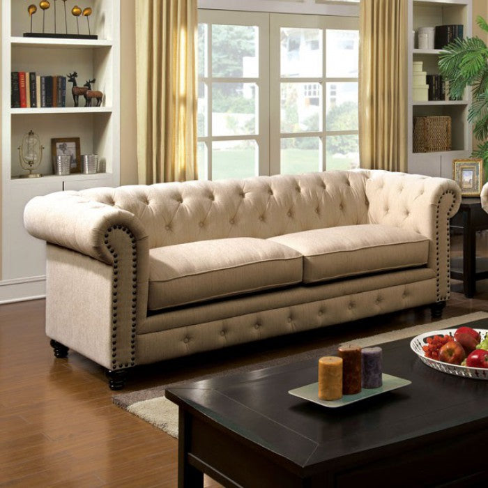 Stanford Fabric Ivory Traditional Sofa