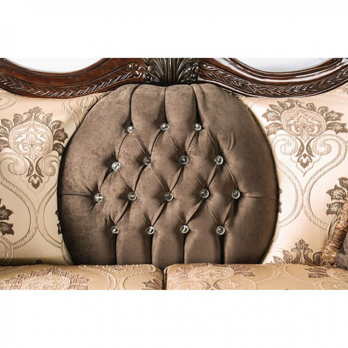 Talitha Leatherette Brown/Tan Traditional Sofa