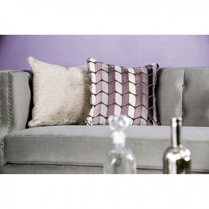 Tegan Solid Wood Frame Gray/Purple Transitional Sofa