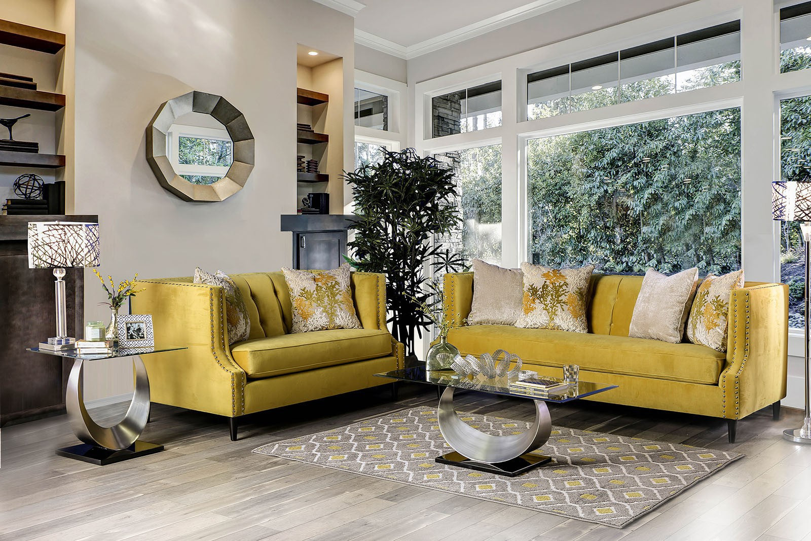 Tegan Solid Wood Frame Royal Yellow/Light Tan Transitional Sofa