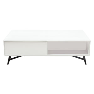Tempo Cocktail Table with Storage in White Lacquer Finish and Black Powder Coated Legs - White