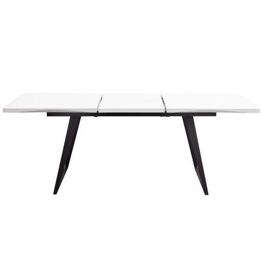 Tempo Extension Dining Table in White Lacquer Finish and Black Powder Coated Legs - White