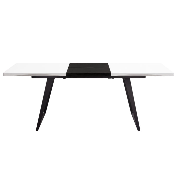 TEMPO EXTENSION DINING TABLE IN WHITE LACQUER FINISH WITH BLACK LACQUER  LEAF AND BLACK POWDER COATED LEGS