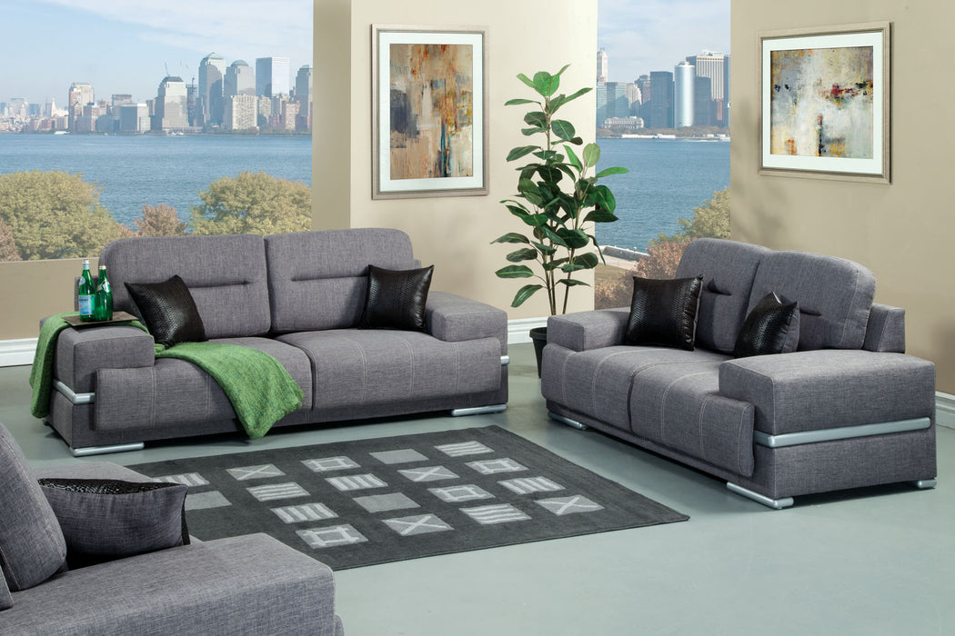 Thessaly Fabric Gray Contemporary Sofa