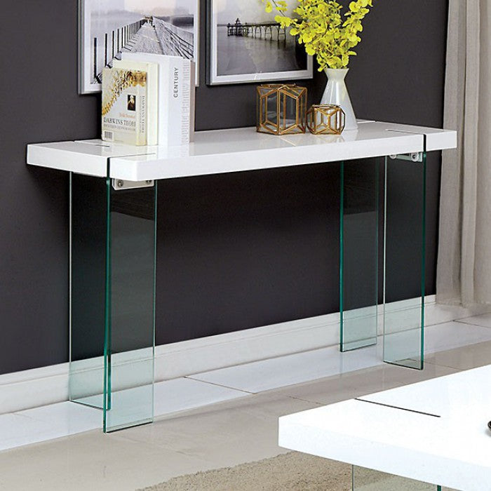 Thorold Glass White Contemporary Sofa Table — Sofa Shack