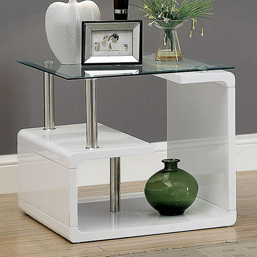 Torkel White Chrome Contemporary End Table