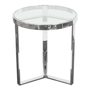 Trinity Round End Table With Clear Tempered Glass Top And Stainless Steel Frame