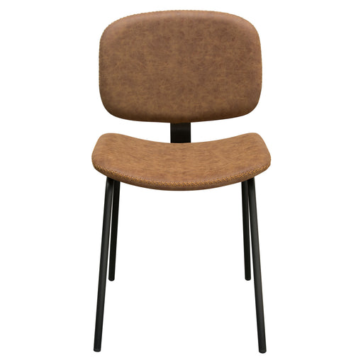 Two James Dining Chairs In Coffee Pu With Powder Coated Metal Frame Set