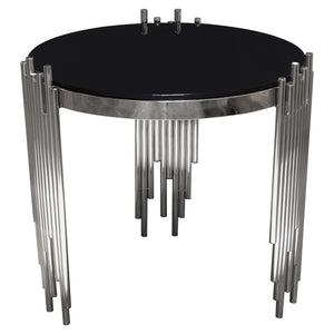 Vantage Round End Table With Black Tempered Glass Top And Silver Finished