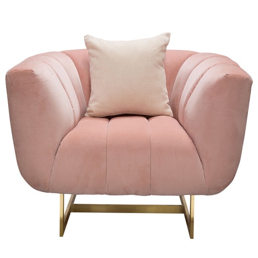 Venus Chair In Blush Pink Velvet With Contrasting Pillows And Gold Finished Metal Base
