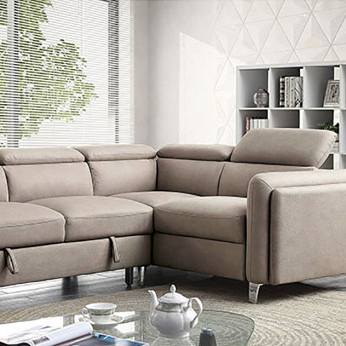 Verity Gray Contemporary Fabric Solid Wood Metal Feet Sectional