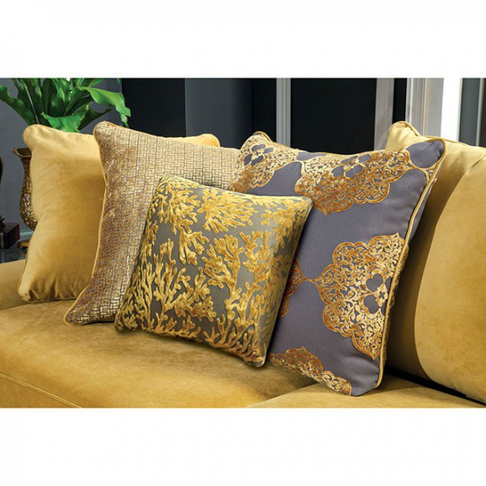 Viscontti Fabric Gold/Gray Traditional Sofa