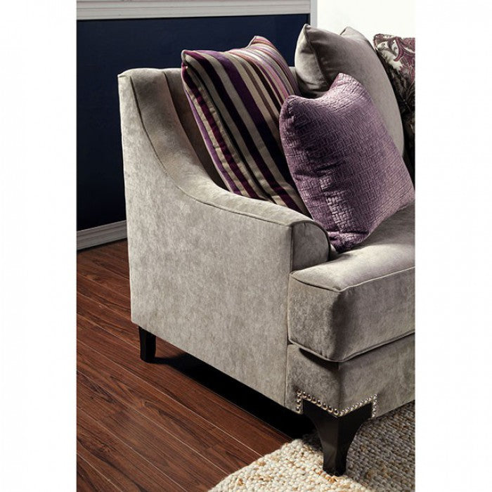 Viscontti Fabric Vintage Taupe/Purple Traditional Sofa