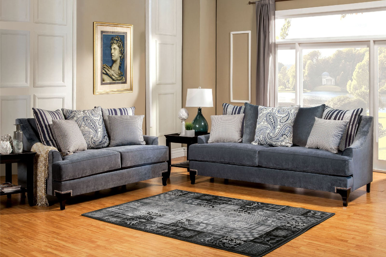 Vittoria Premium Fabric Slate Blue Transitional Sofa