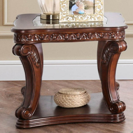 Walworth Glass Dark Oak Traditional End Table