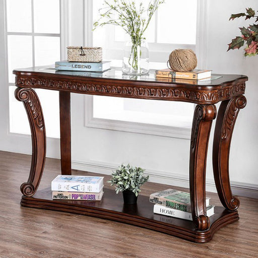 Walworth Glass Dark Oak Traditional Sofa Table