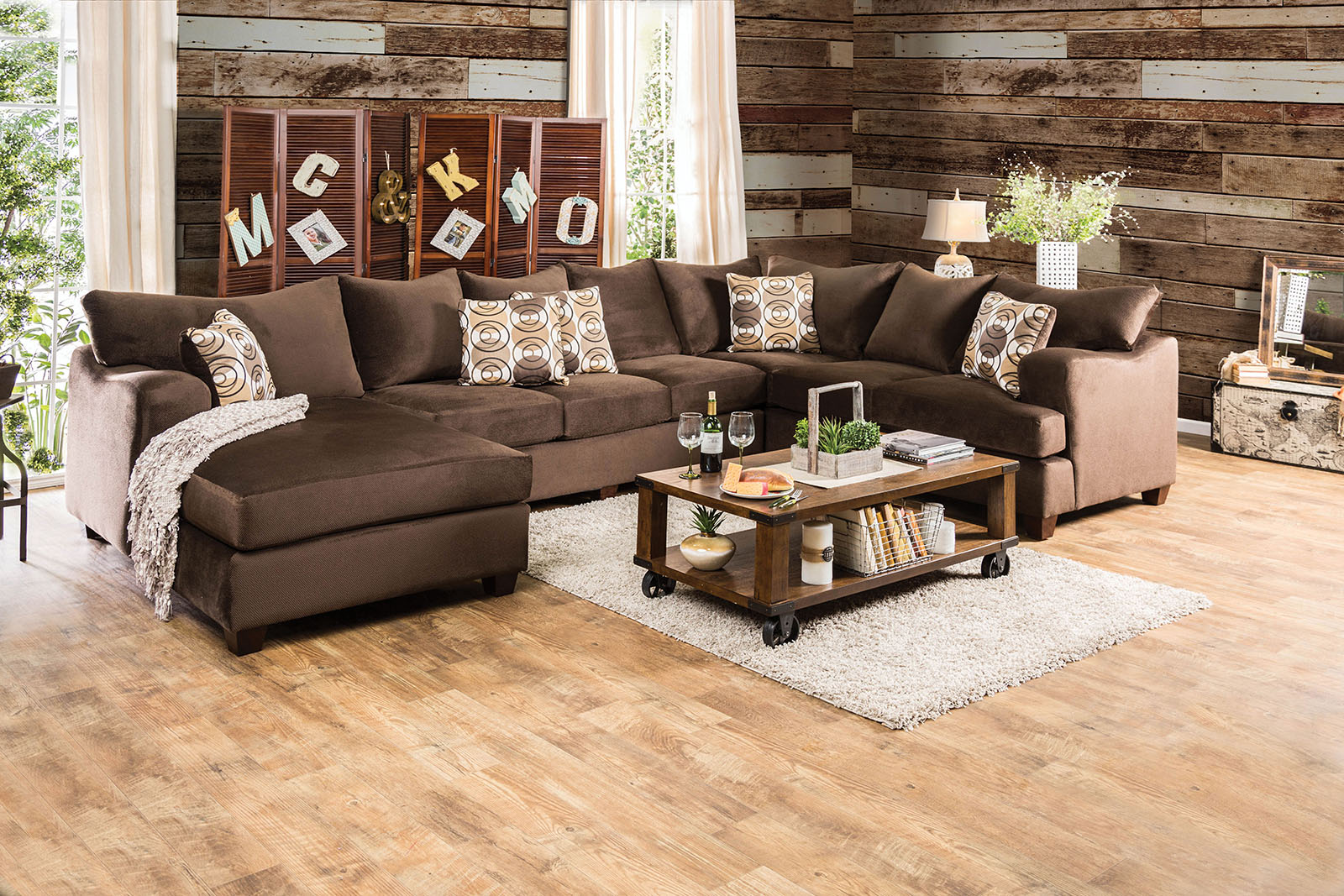 Wessington Chocolate Transitional Modern English-arm Style Fabric Sectional