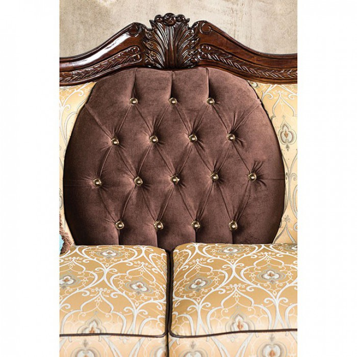 Wexford Fabric Brown/Gold Traditional Sofa
